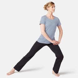 T-Shirt 500 Pilates sanfte Gymnastik Damen hellblau