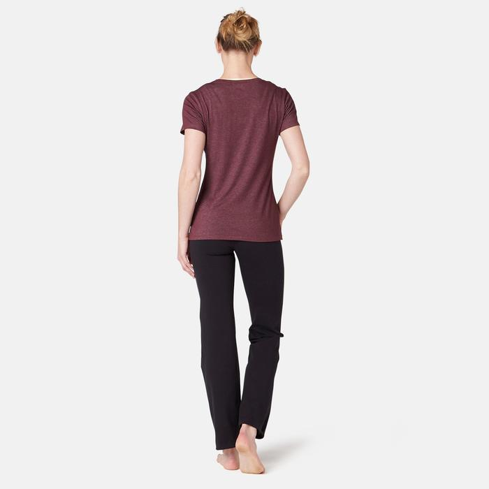 Dames T-shirt voor pilates en lichte gym 500 regular fit bordeaux