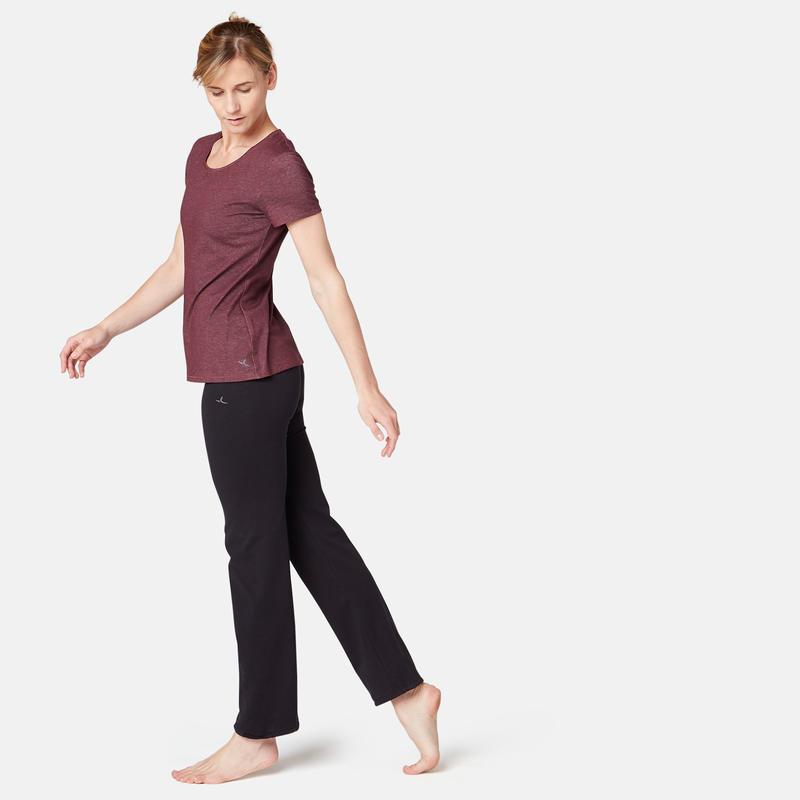500 Women's Regular-Fit Pilates & Gentle Gym T-Shirt - Burgundy