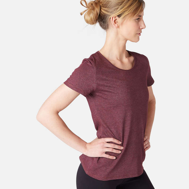 T-SHIRT, LEGGINGS, SHORT DONNA Ginnastica, Pilates - T-shirt donna gym 500 bordeaux NYAMBA - Sport