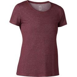 T-Shirt 500 Regular Pilates & sanfte Gym Damen bordeaux