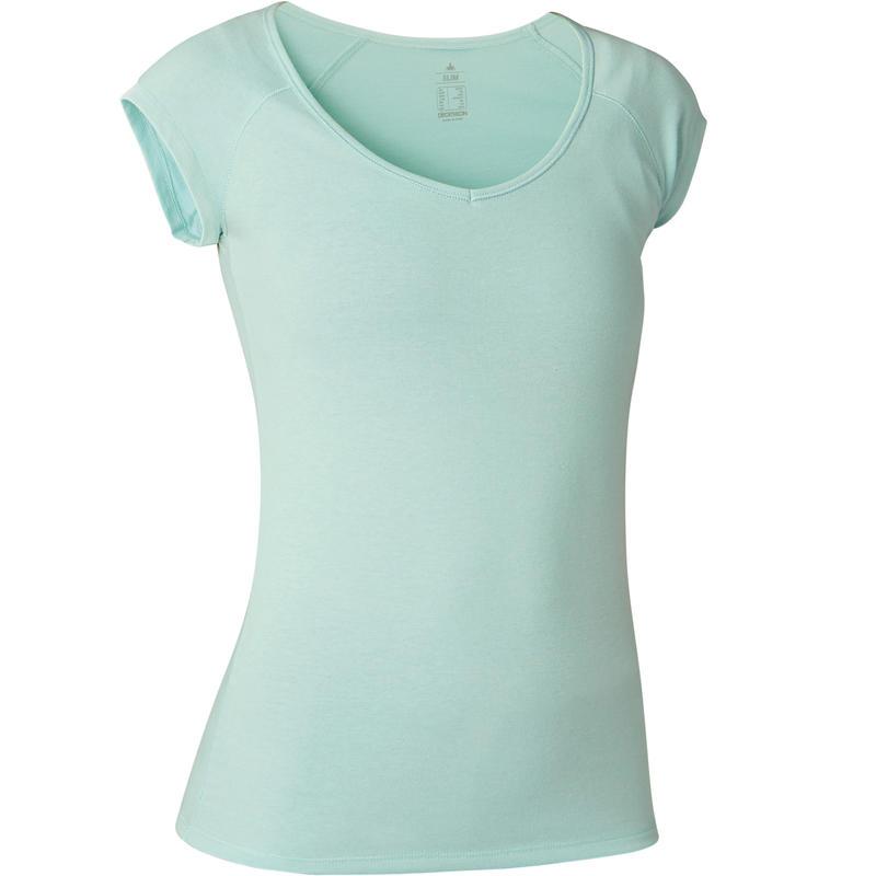 500 Women's Slim-Fit Gentle Gym & Pilates T-Shirt - Light Blue