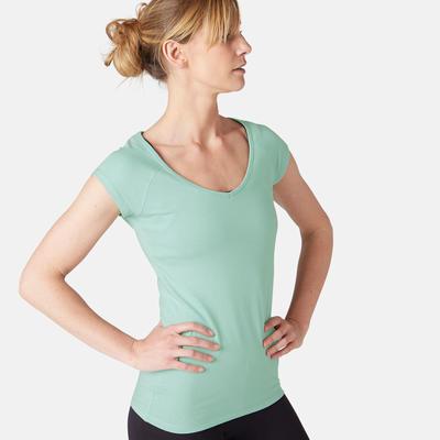 חולצת טריקו צמודה 500 לפילאטיס ולכושר עדין לנשים - תכלת