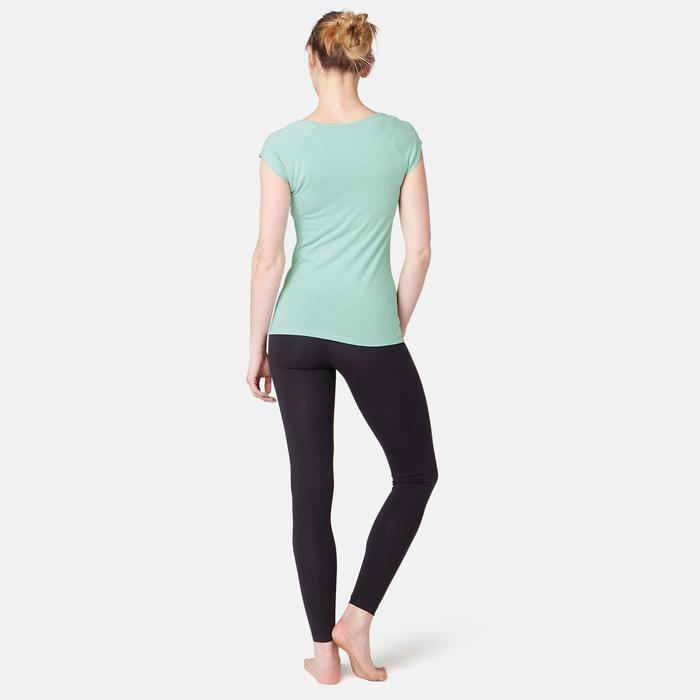 T-Shirt 500 slim Pilates Gym douce femme bleu clair