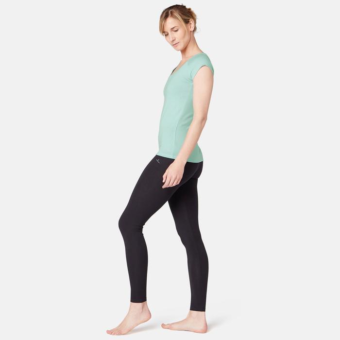 T-shirt voor pilates/lichte gym dames 500 slim fit lichtblauw