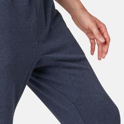 Herenbroek voor pilates en lichte gym 500 skinny met rits blauw