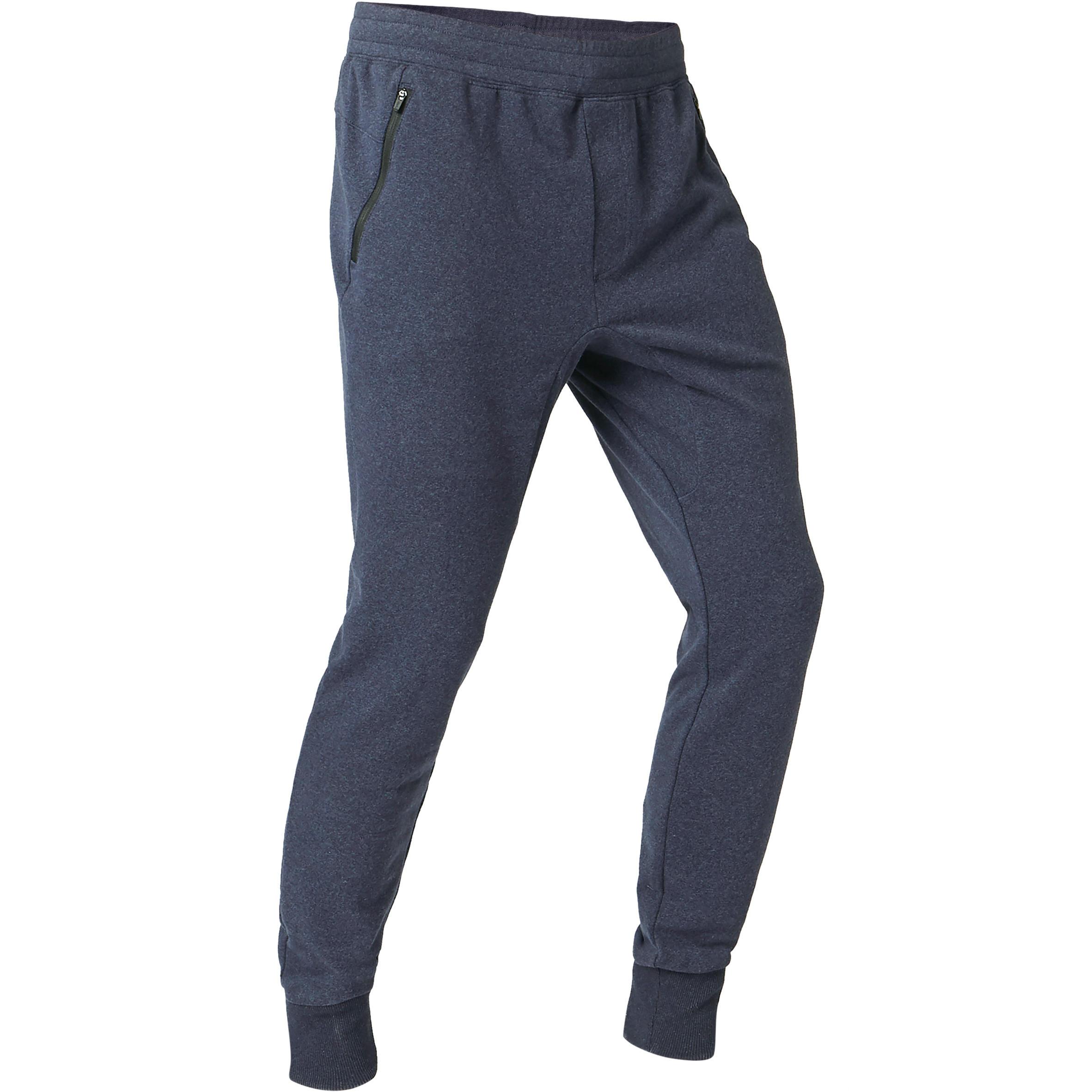 Jogginghose 500 Skinny Zip Pilates sanfte Gymnastik Herren blau   Sportbekleidung > Sporthosen > Jogginghosen   Blau   Domyos
