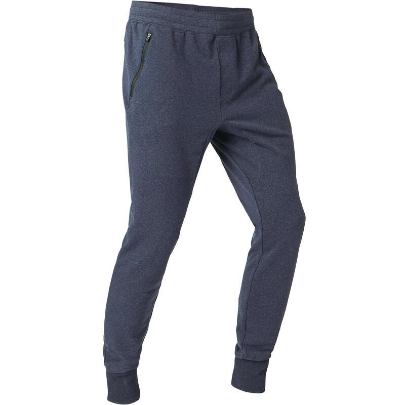 Joggingbroek voor fitness skinny fit aansluitend aan de enkels blauw