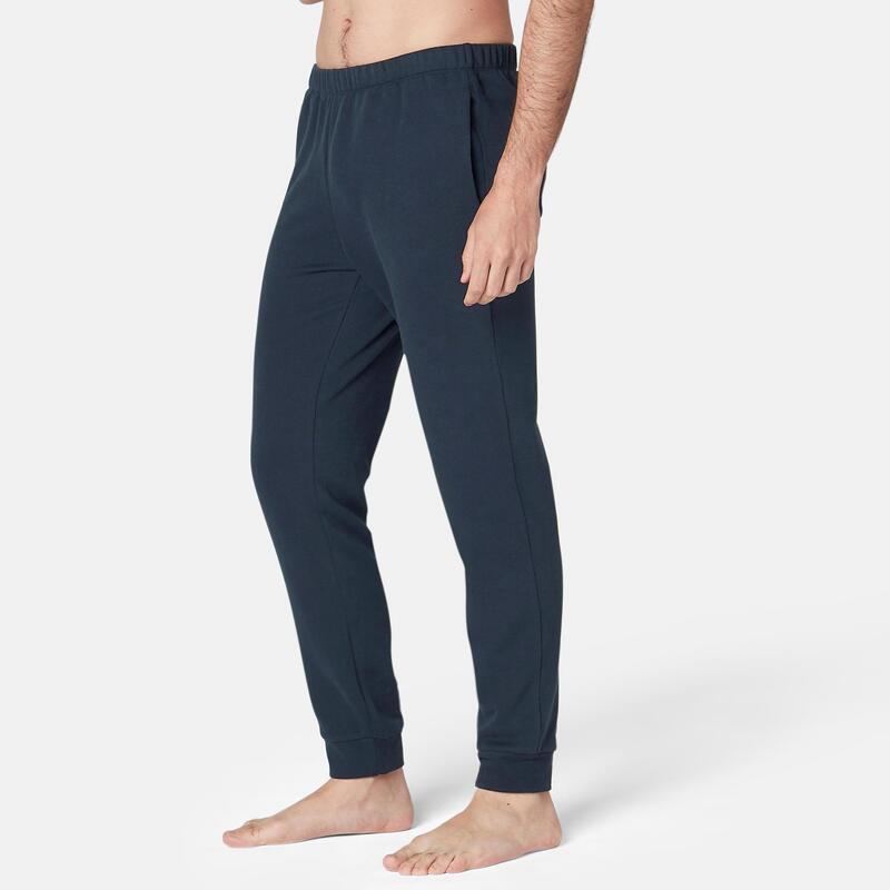 Pantalon trening regular 100 Fitness din molton Albastru bărbați