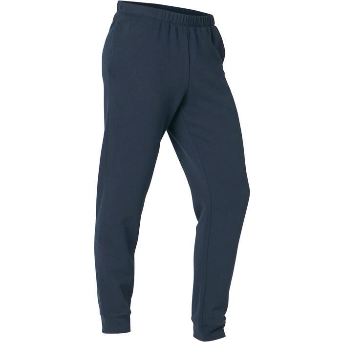 Joggingbroek voor lichte gym en pilates heren 100 regular blauw