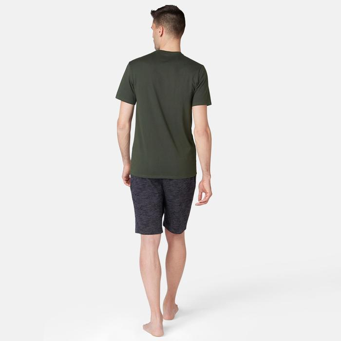 T-Shirt500 Slim Pilates sanfte Gymnastik Herren dunkelgrün