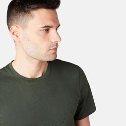 修身剪裁溫和健身與皮拉提斯T恤500 - 深綠色