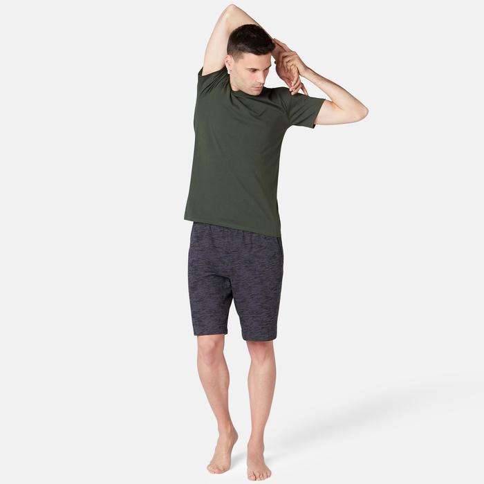 T-Shirt 500 slim Pilates Gym douce homme vert foncé