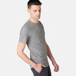 T-Shirt 500 slim Pilates Gym douce homme gris chiné