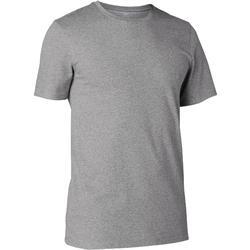 Heren T-shirt voor pilates en lichte gym 500 slim fit gemêleerd grijs