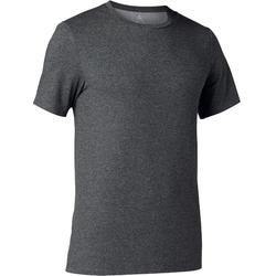 T-Shirt 500 slim Pilates Gym douce homme gris foncé chiné