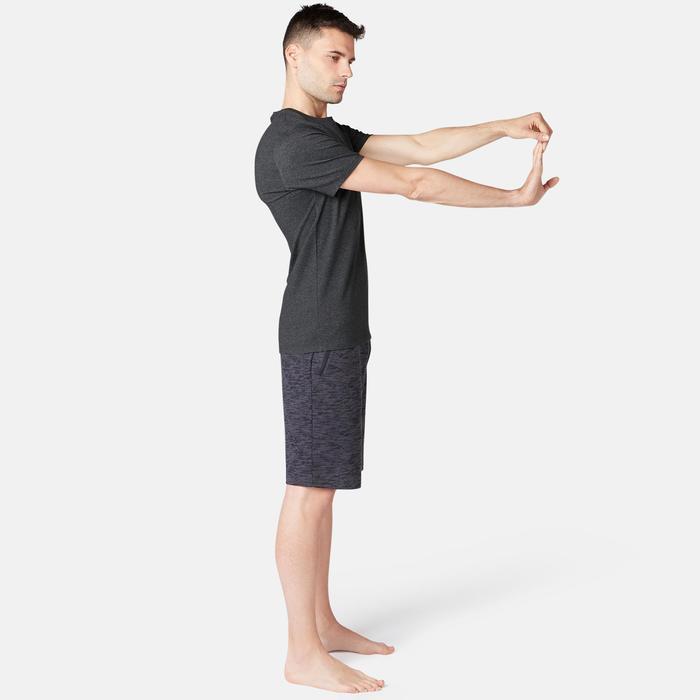 T-Shirt 500 Slim Pilates sanfte Gymnastik Herren dunkelgraumeliert