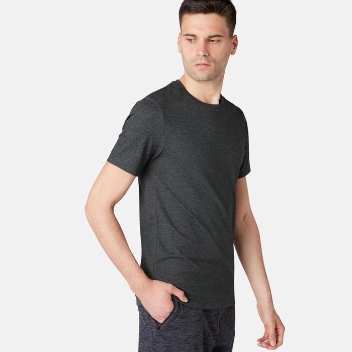 T-Shirt 500 slim Pilates Gym douce homme gris foncé chiné
