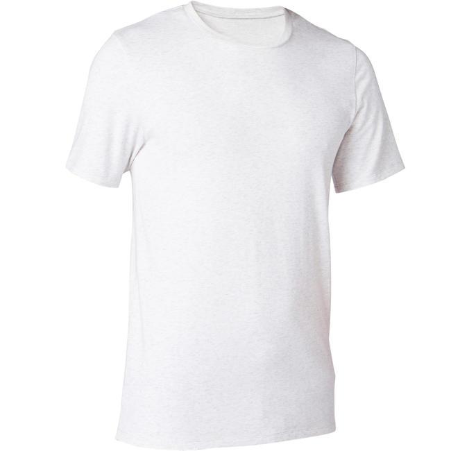 Men's Gym T-Shirt Slim Fit 500 - Mottled Beige
