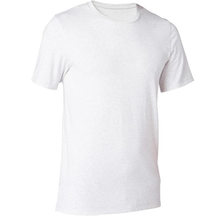 T-shirt voor pilates en lichte gym heren 500 slim fit gemêleerd beige