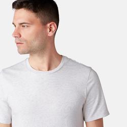 T-Shirt 500 Slim Pilates sanfte Gymnastik Herren beigemeliert