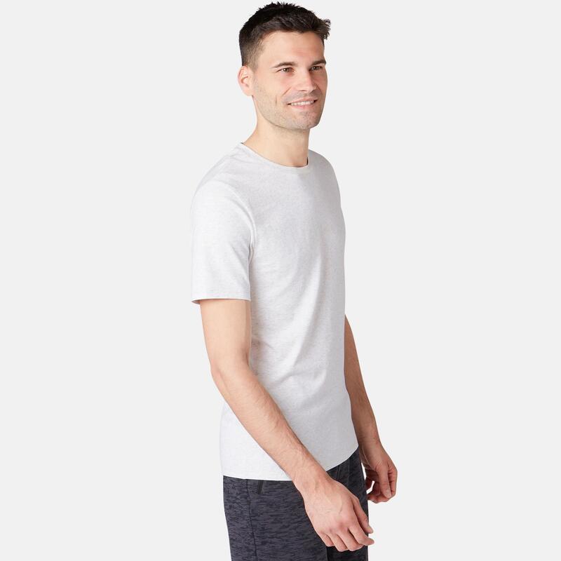 Pánské bavlněné fitness tričko 500 Slim béžové