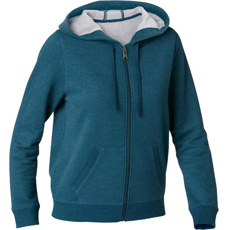 88fe4e0e8cd2c5 Dames hoodie met rits voor pilates en lichte gym 520 blauw | Domyos by  Decathlon