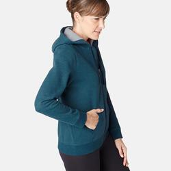 Dames hoodie met rits voor pilates en lichte gym 520 blauw