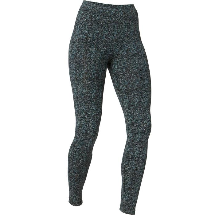 Leggings Fit+ 500 Slim Gym & Pilates Damen schwarz mit Print