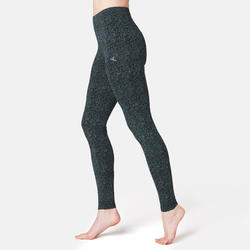 Women's Fitness Leggings Fit+ 500 - Black Print
