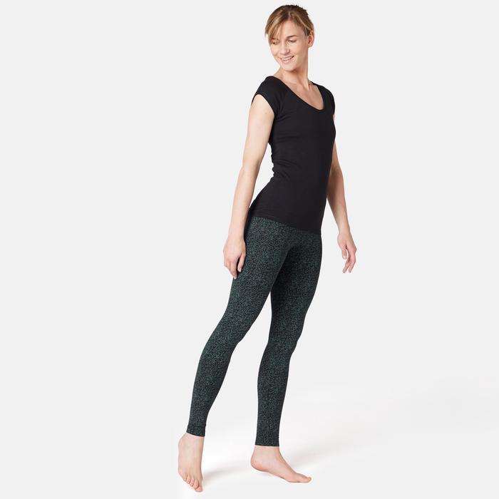 Leggings FIT+ 500 Pilates y Gimnasia suave mujer negro estampado