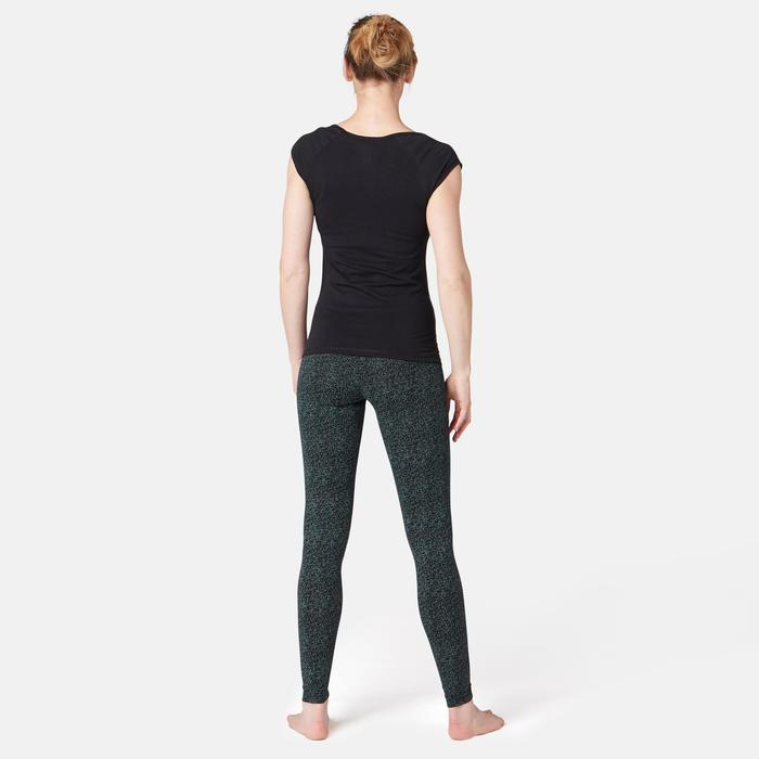 Leggings Fit+ 500 Pilates & sanfte Gymnastik Damen schwarz mit Print