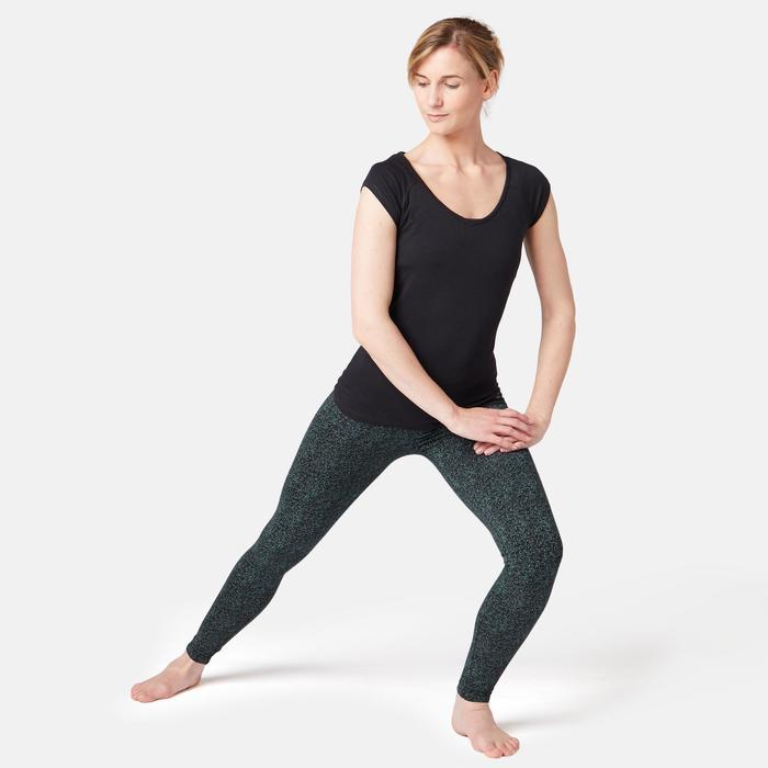 Dameslegging voor pilates en lichte gym Fit+ 500 zwart met print