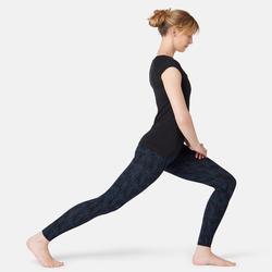 Dameslegging voor pilates en lichte gym Fit+ 500 blauw met print