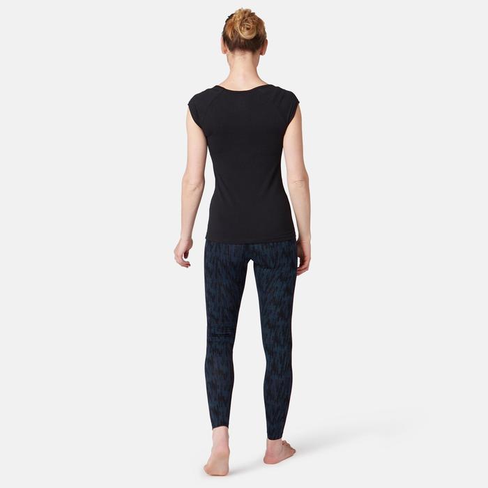 女款修身剪裁溫和健身與皮拉提斯緊身褲500 Fit+ - 藍色印花