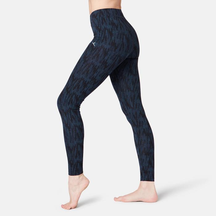 Legging Fit+ 500 Fitness femme bleu printé