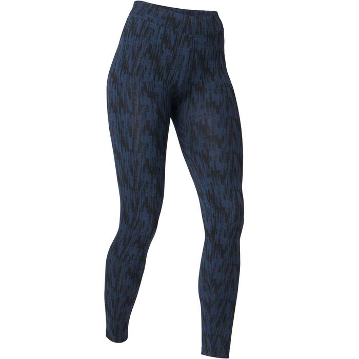Leggings Fit+ 500 Fitness mujer azul estampado