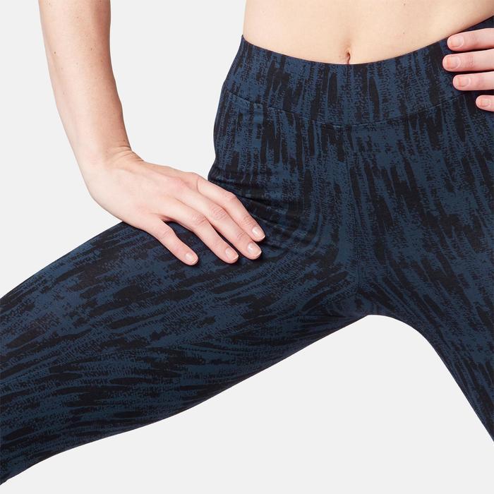 Leggings Fit+ 500 slim Pilates y Gimnasia suave mujer azul estampado