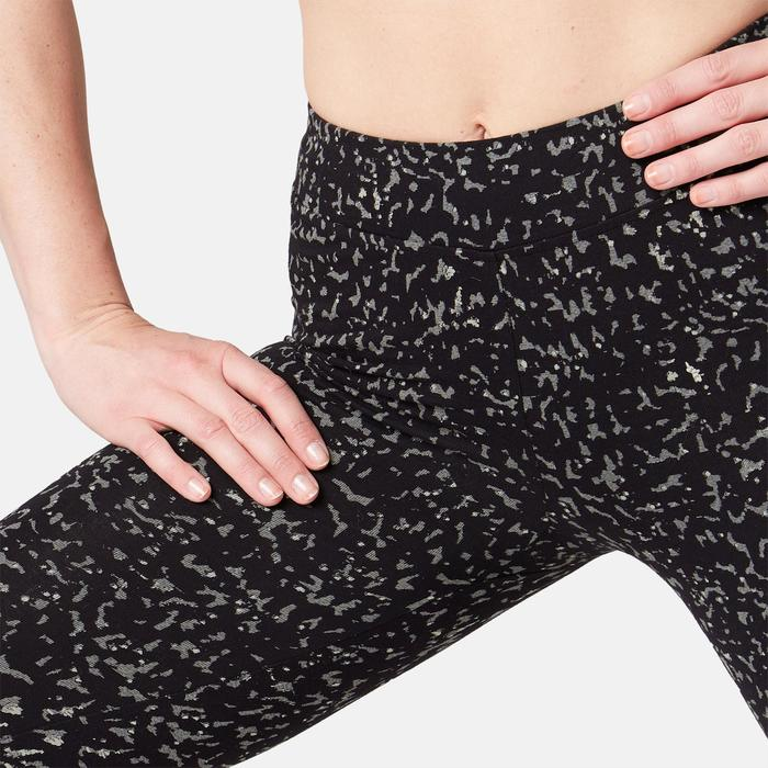 Leggings Fit+ 500 Gym & Pilates Damen grau mit Print