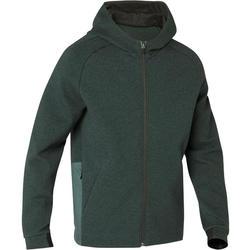 Heren hoodie met rits voor pilates en lichte gym 530 spacer gemêleerd groen