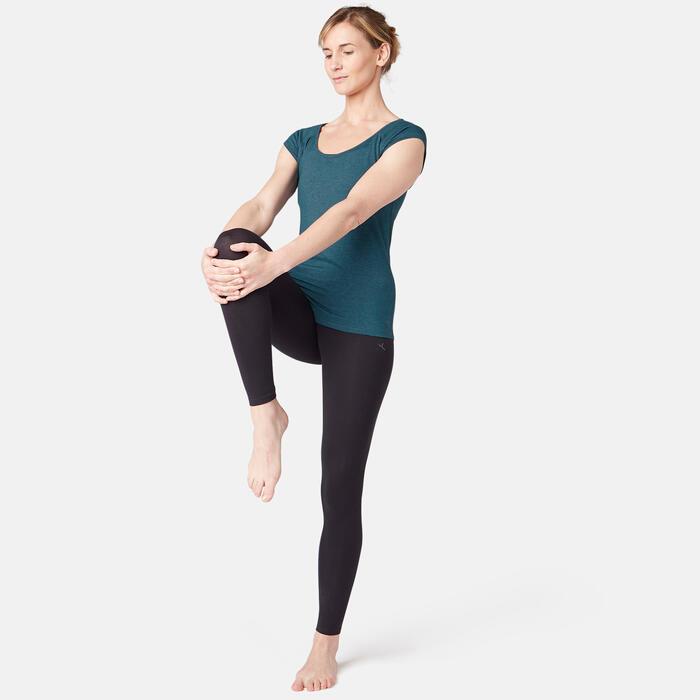 T-Shirt 500 Pilates sanfte Gym Damen blaugrün