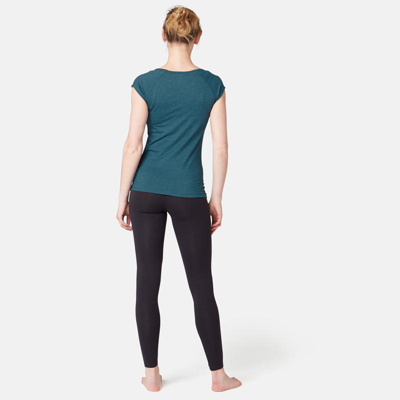 500 Women's Slim-Fit Gentle Gym & Pilates T-Shirt - Teal