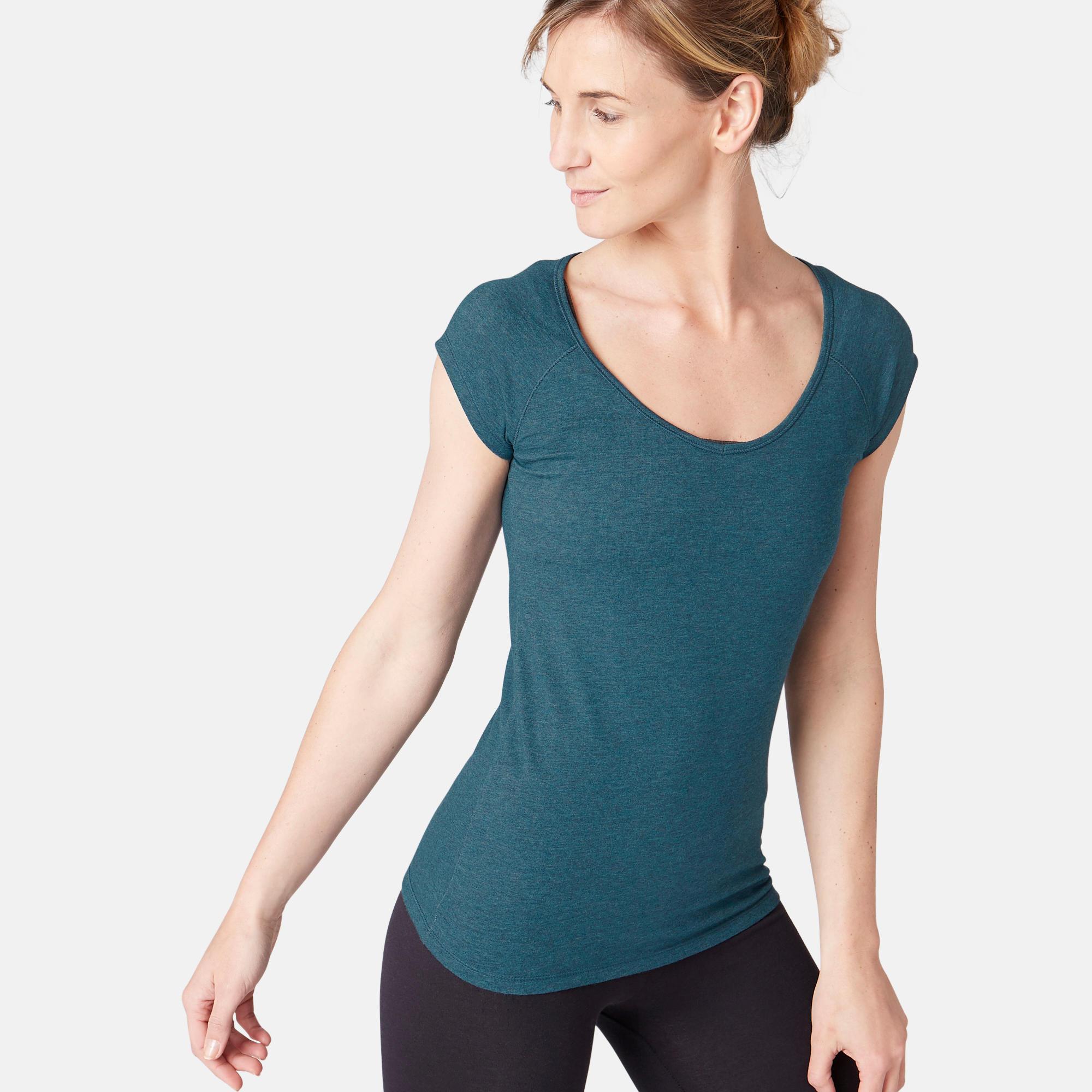 T shirt 500 slim pilates gym douce femme bleu canard domyos