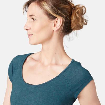 T-Shirt 500 slim Pilates Gym douce femme bleu canard