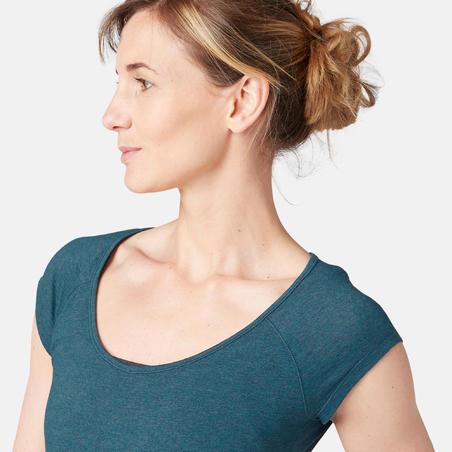 Жіноча футболка 500 для пілатесу та гімнастики, вузький крій - Синьо-зелена