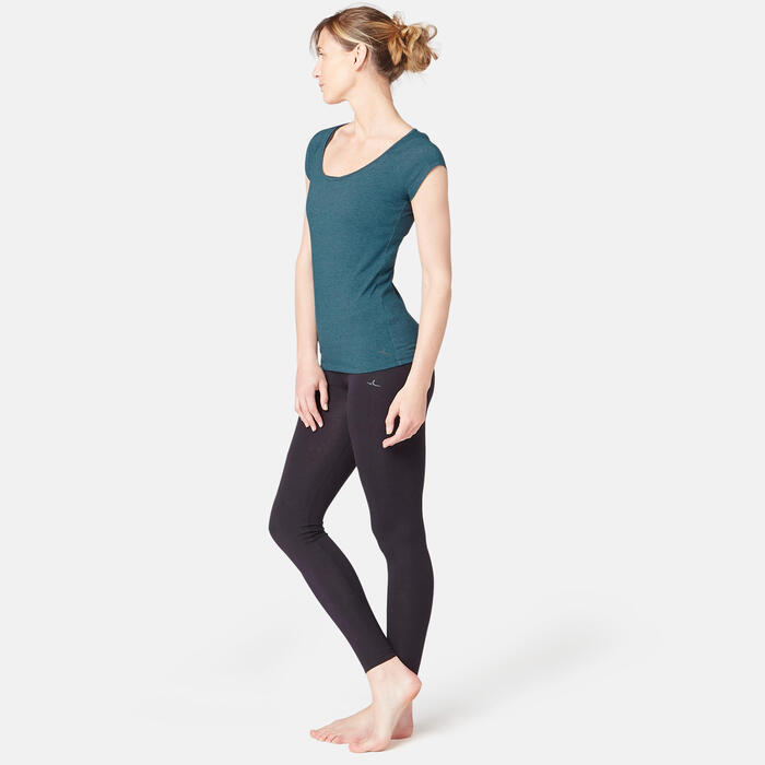 T-Shirt 500 slim Pilates Gym douce femme bleu canard