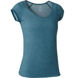 Camiseta 500 slim Pilates y Gimnasia suave mujer azulón