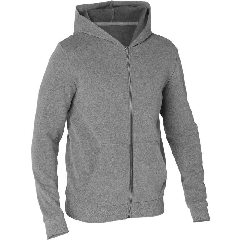 เสื้อแจ็คเก็ตมีฮู้ดสำหรับผู้ชายใส่ออกกำลังกายรุ่น 100 (สีเทา)