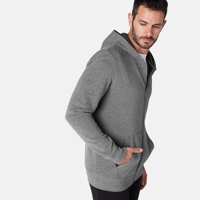 Men's Hooded Training Jacket 100 - Grey