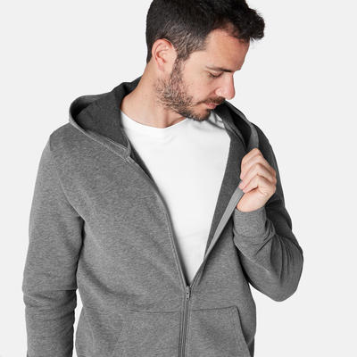 Men's Hooded Jacket 100 - Grey Marl